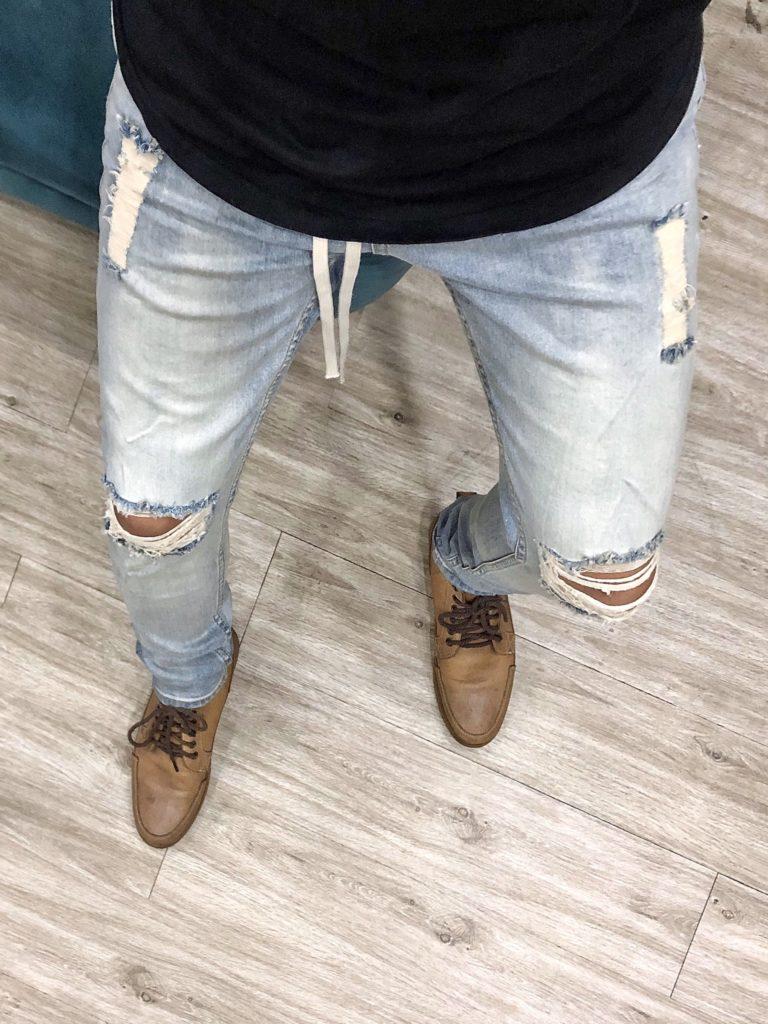 quần jean nam rách gối
